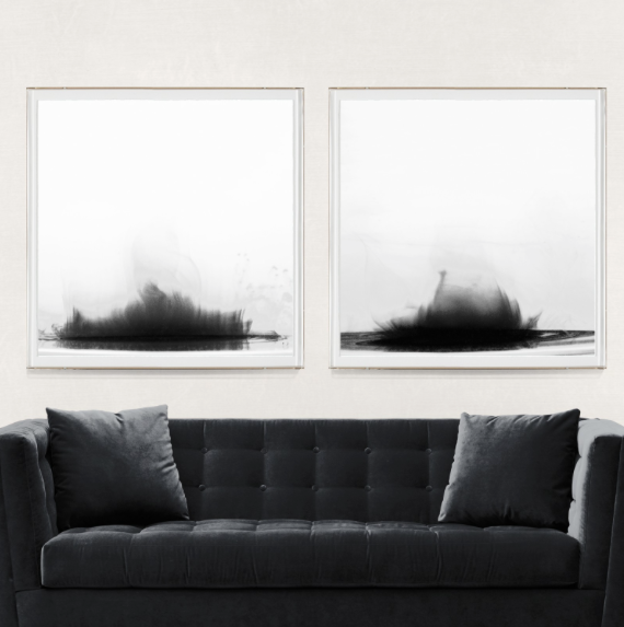 Natural Curiosities Ink and Water Pair Acyclic Wall Art Painting