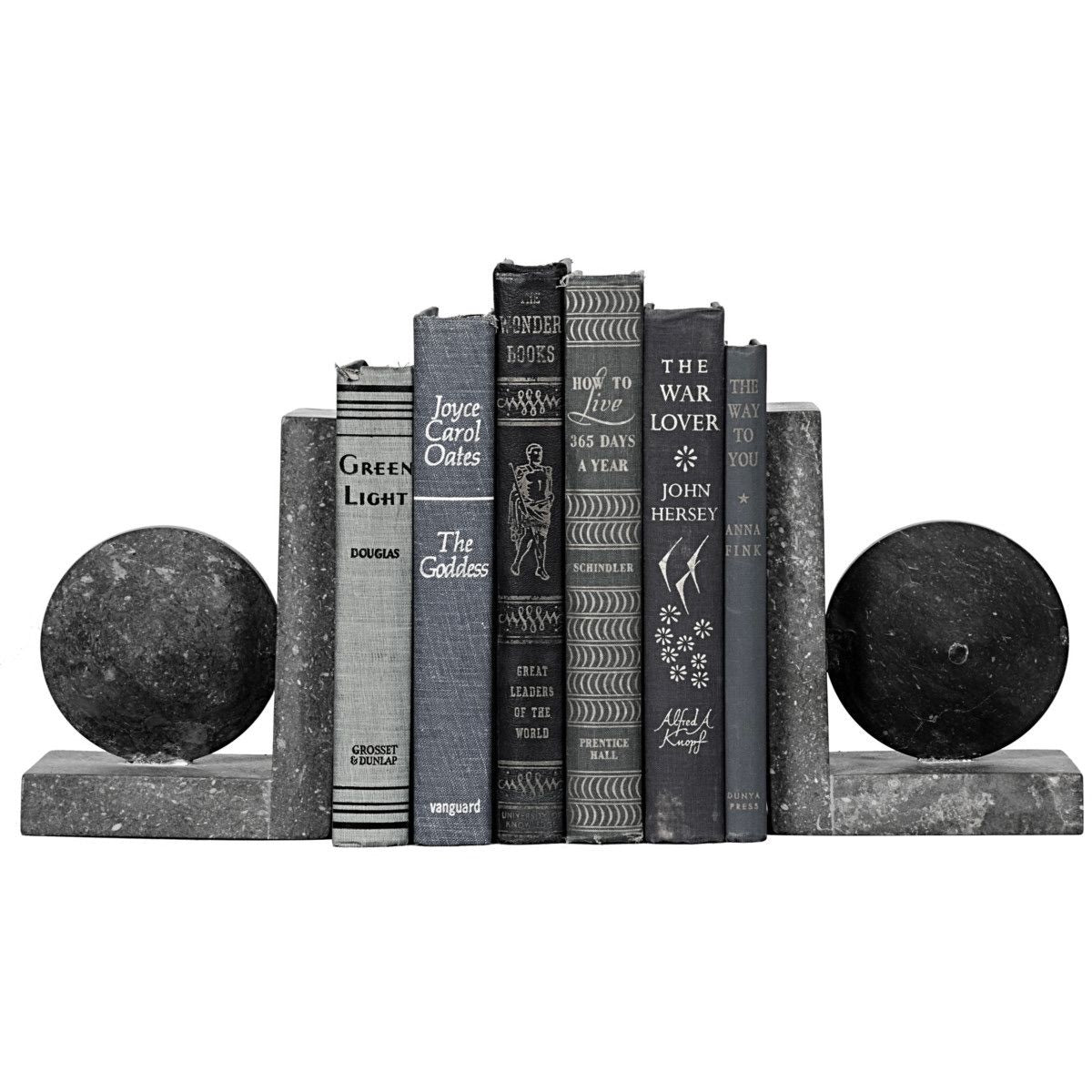 noir black marble bookends