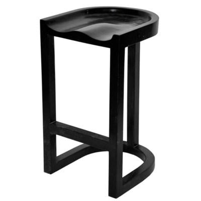 noir saddle bar and counter  stool hand rubbed black