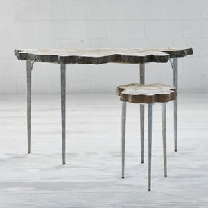 palecek chloe fossil console with side table
