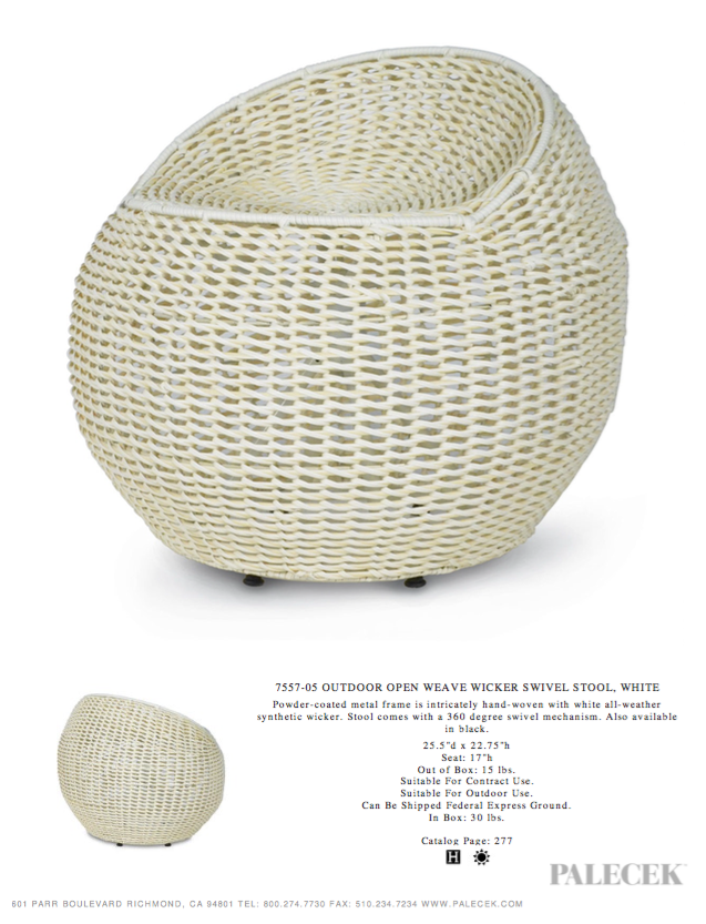 palecek outdoor wicker swivel stool white tearsheet