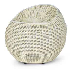 Outdoor Open Weave Wicker Swivel Stool White