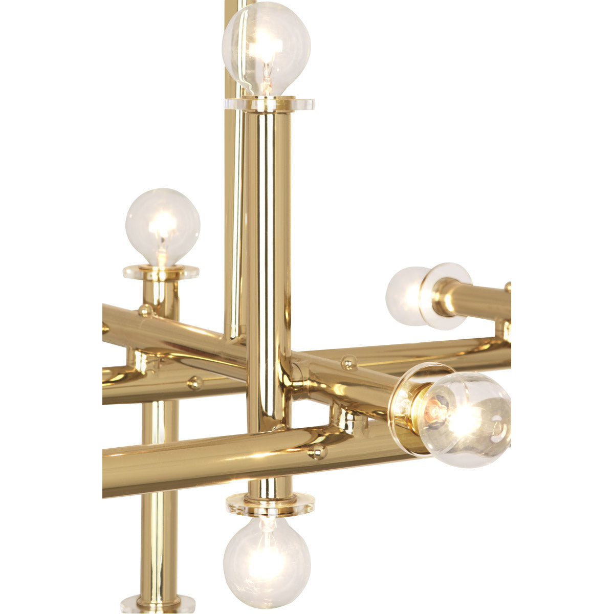 robert abbey milano chandleier with lucite brass jonathan adler detail