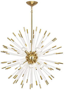 robert abbey andromeda chandelier lucite brass hanging
