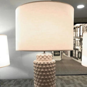 robert abbey dolly table lamp smoky taupe shown in room