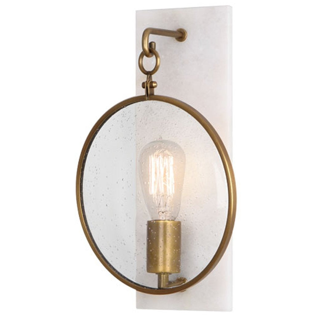 Robert Abbey Fineas Wall Sconce In Aged Brass And Alabaster