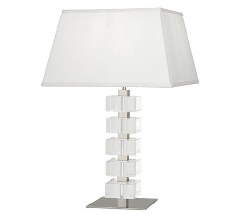 Robert Abbey Monaco Table Lamp Polished Nickel Crystal Blocks