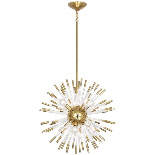 robert abbey andromeda chandelier lucite brass hanging small