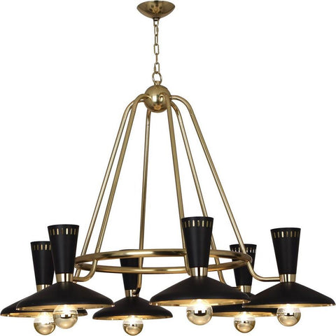 robert abbey vortex chandelier black and brass