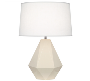 Robert Abbey Delta Table Lamp Ceramic Polished Nickel
