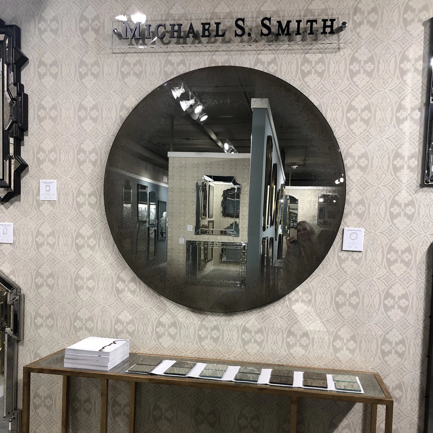 Round Antiqued Mirror