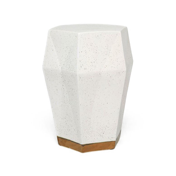 Made Goods Shelby Stool White Ceramic Gold Base Seating