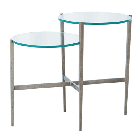 Studio A Dante Table Natural Iron Silver Glass