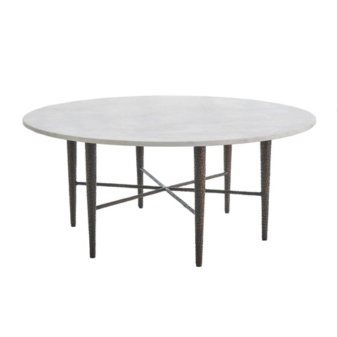 studio a hammered cocktail table bronze with white marble tearsheet