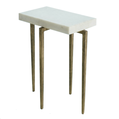 Studio A Laforge Accent Table Antique Gold With White Marble