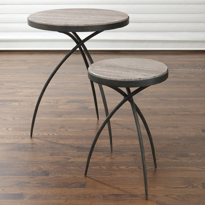 studio a tripod iron tables with stone gray top