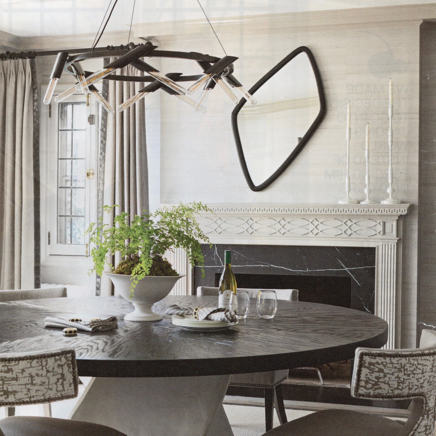 traditional home magazine currey luciole chandelier black metal iron