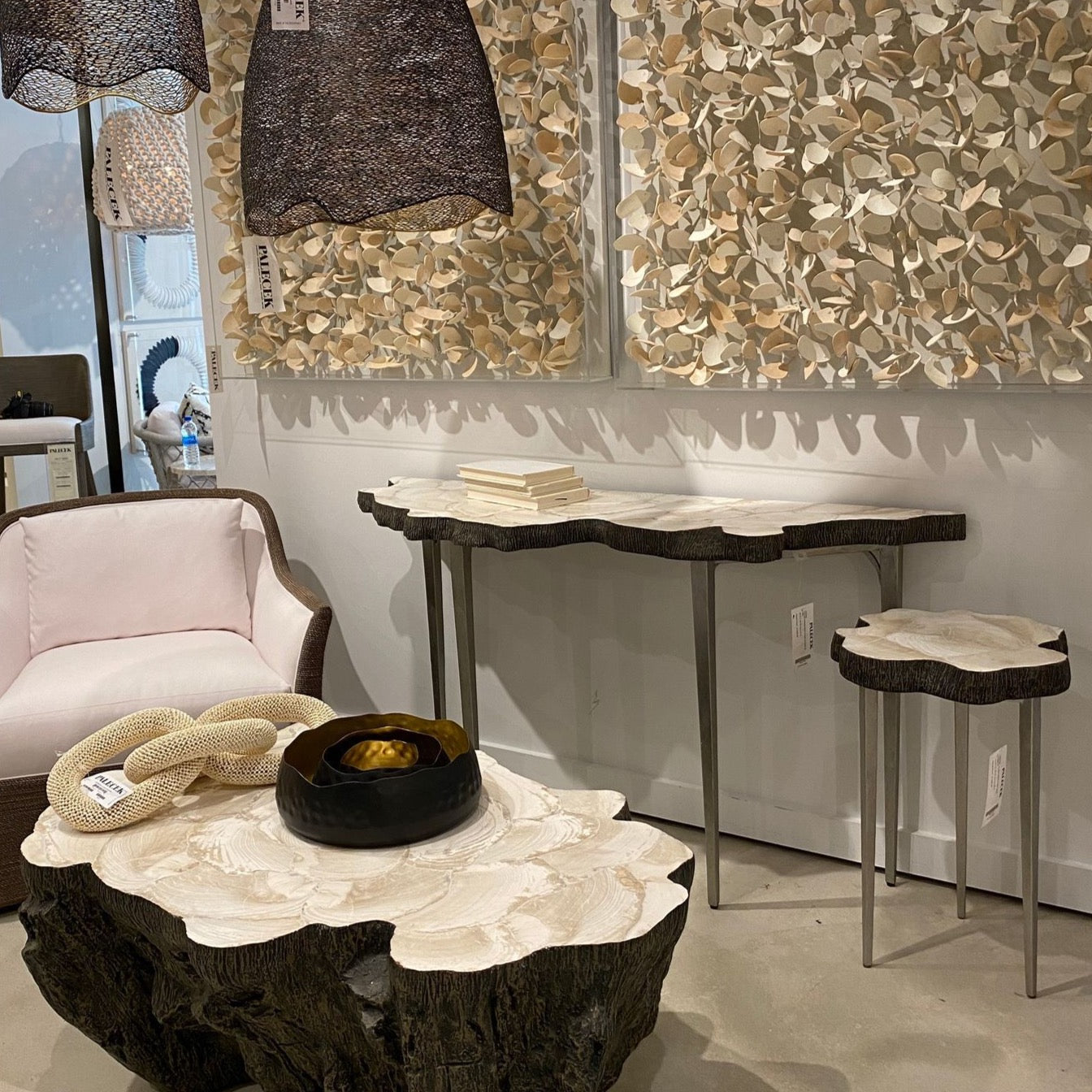 Palecek Chloe fossil clam side table showroom