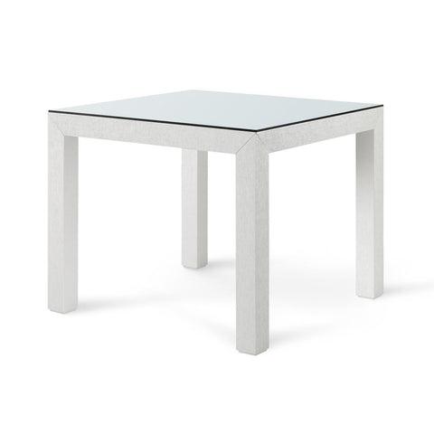 Bungalow 5 Valentina Grasscloth Game Table White Glass
