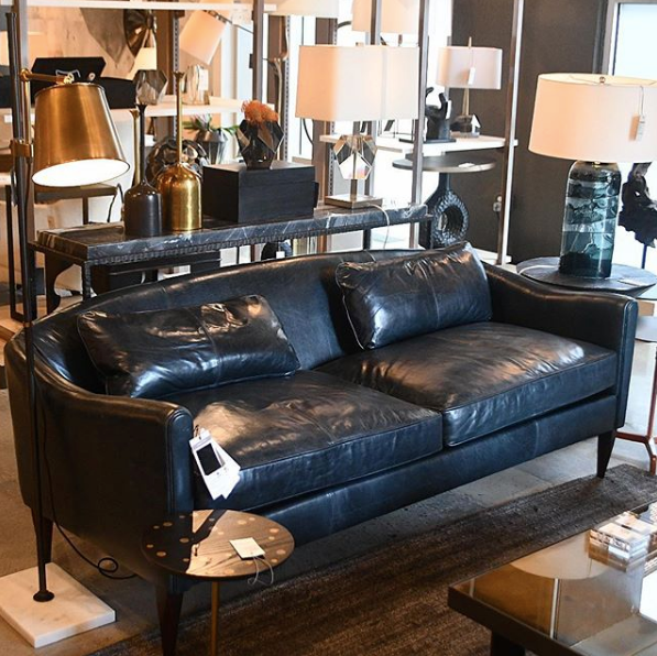 arteriors Vincent settee ink leather market