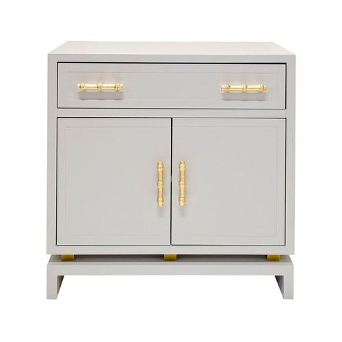worlds away marcus lacquer cabinet grey gray matte gold leaf accent
