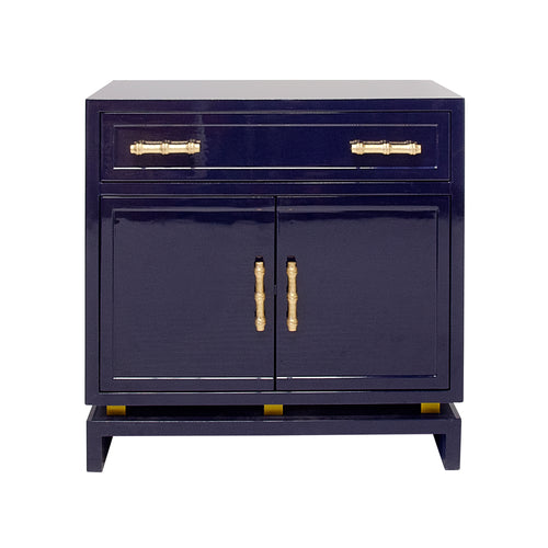 worlds away marcus cabinet navy lacquer doors drawer