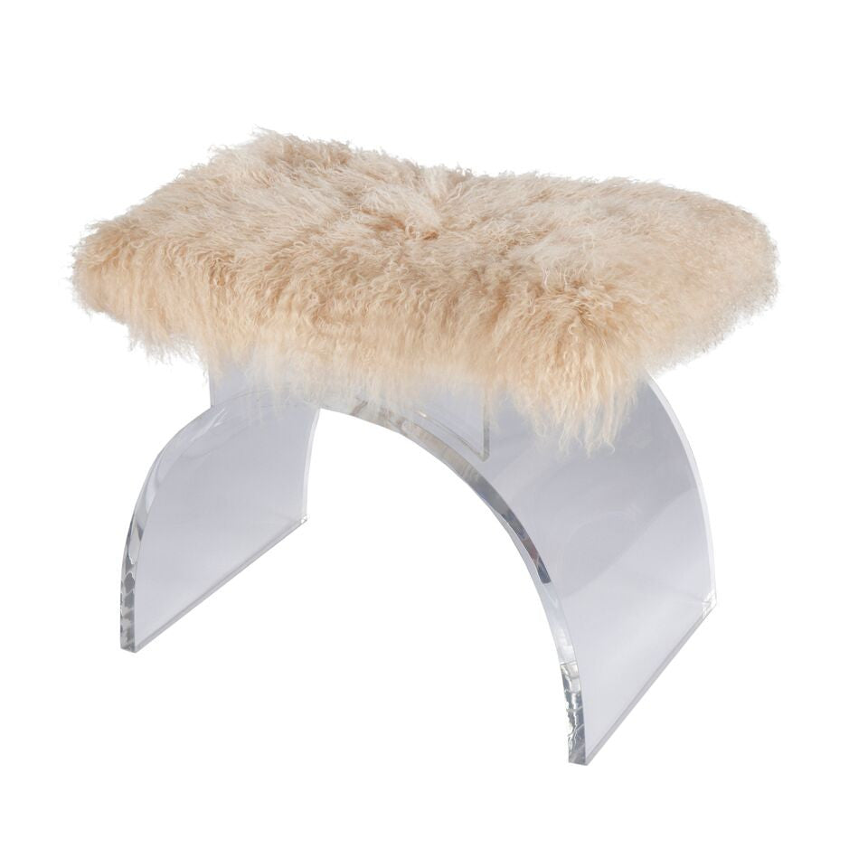Worlds Away Marlowe Stool Mongolian Fur