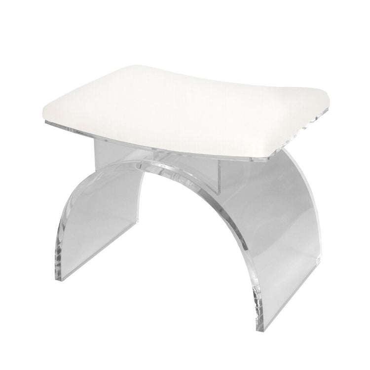 worlds away marlowe stool white linen seating acrylic
