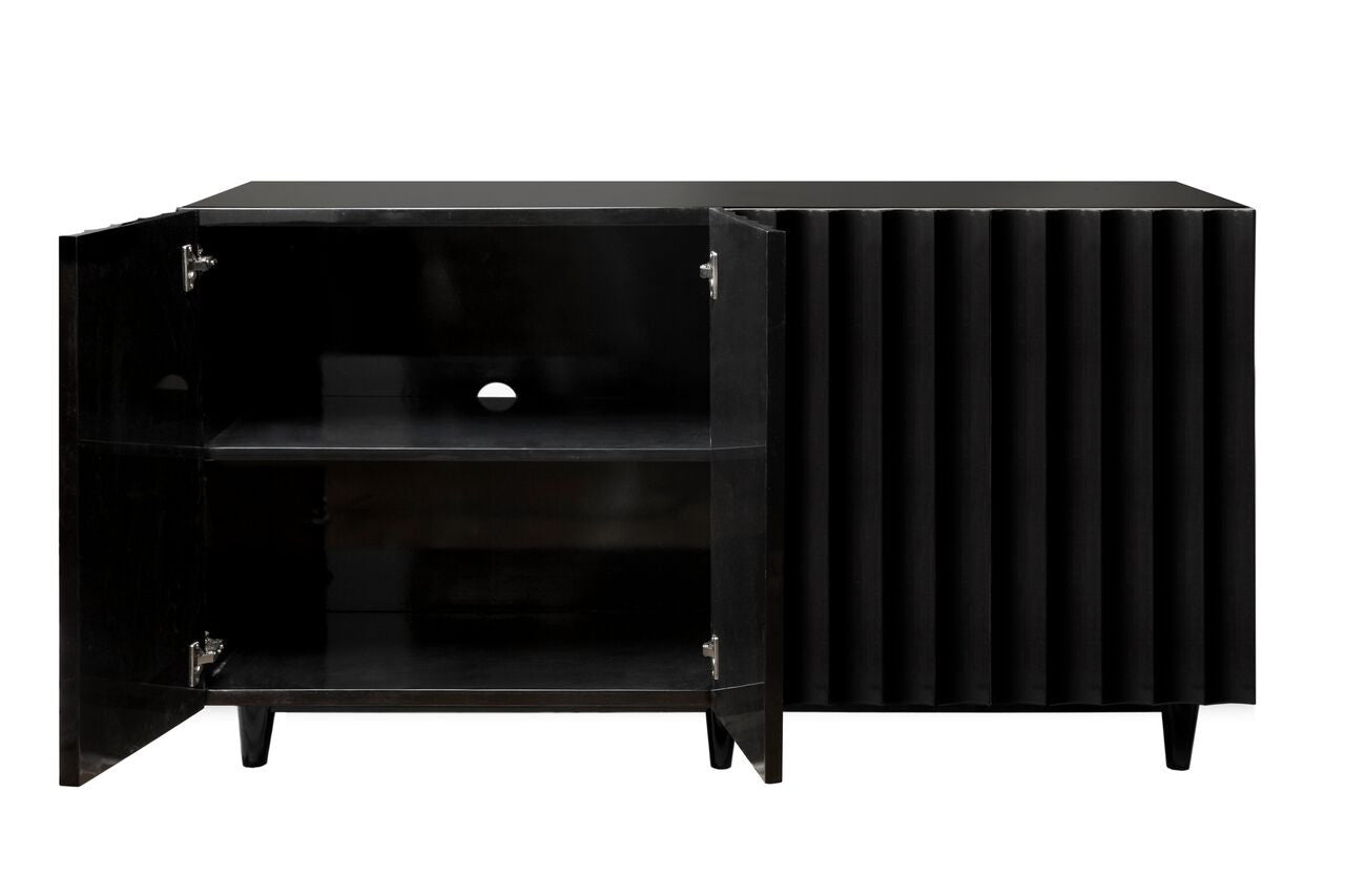 worlds away odette cabinet black lacquer doors shelves
