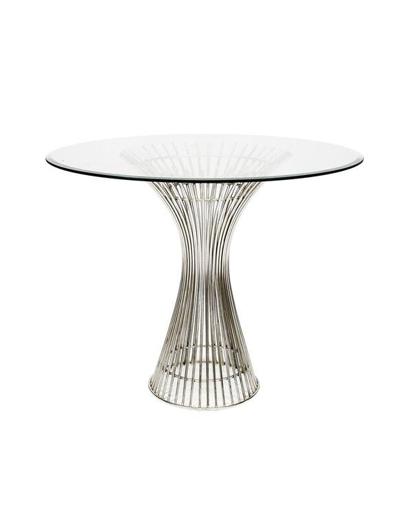 worlds away powell side table silver beveled glass top stainless steel