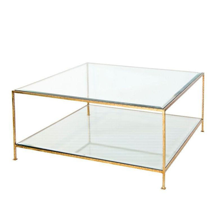 worlds away quadro coffee table gold beveled glass top