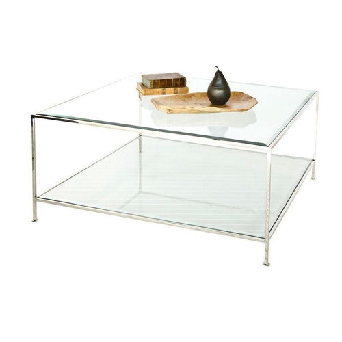 worlds away quadro coffee table nickel beveled glass top
