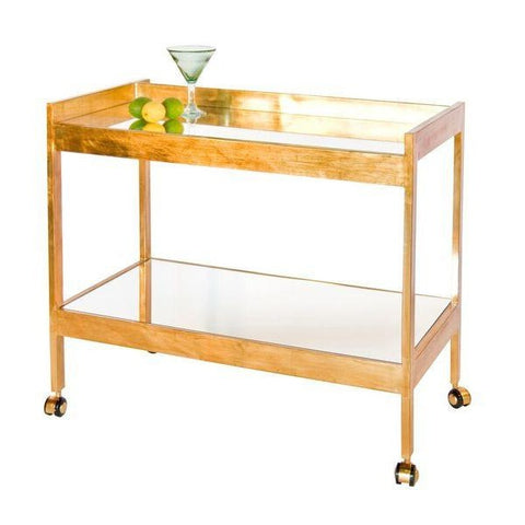 worlds away roland bar cart gold leaf beverage table mirror shelf