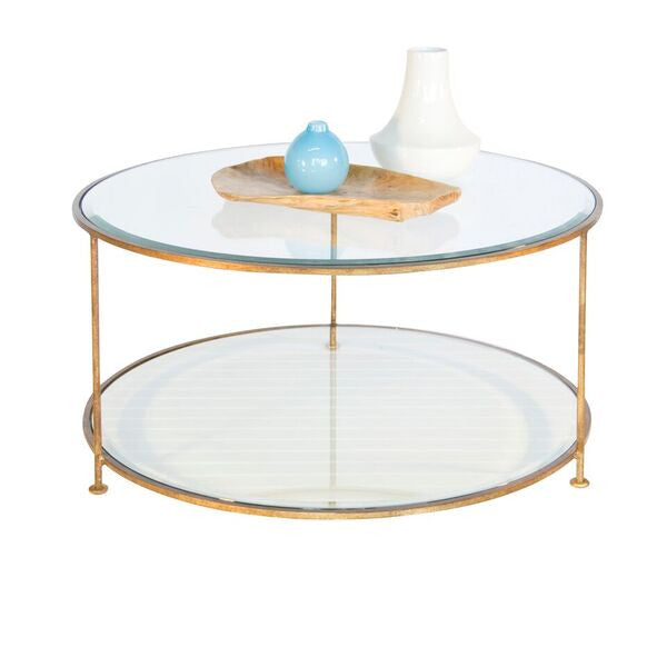 worlds away rollo round coffee table gold leaf iron glass top front view