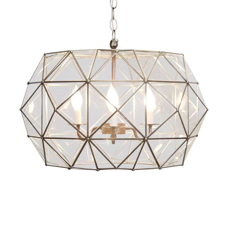 worlds away rozz pendant clear glass geometric lighting