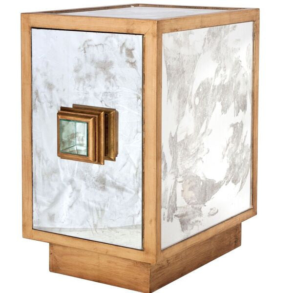 side view worlds away savannah mirror gold leaf side table