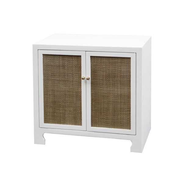 Worlds Away Alden Cabinet White Lacquer Side