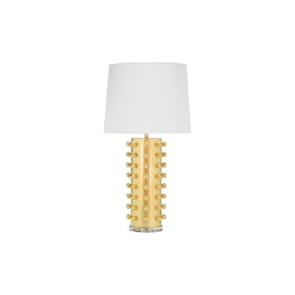 Worlds Away Anita Table Lamp Gold Leaf Light Linen Shade