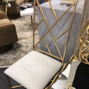 worlds away hasten chair brass and white