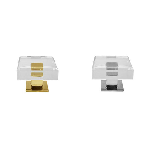 worlds away baker hardware acrylic square brass nickel