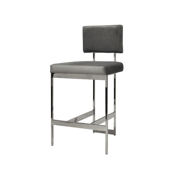 Cool Baylor Counter Stool Nickel And Grey Velvet Gmtry Best Dining Table And Chair Ideas Images Gmtryco