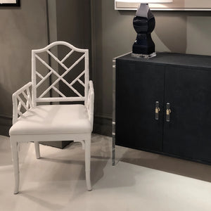 worlds away Bristol arm chair white showroom dining seating