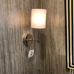 worlds away bristow wall sconce nickel shown in room