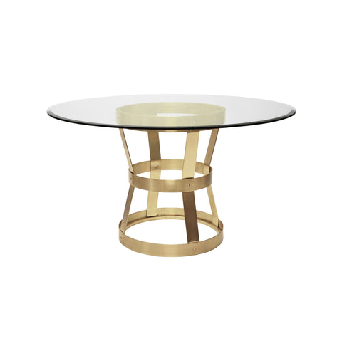 worlds away cannon dining table antique brass and glass