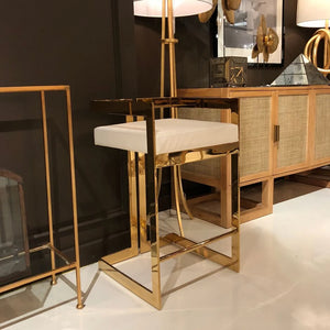 worlds away emmet stool brass and white leather