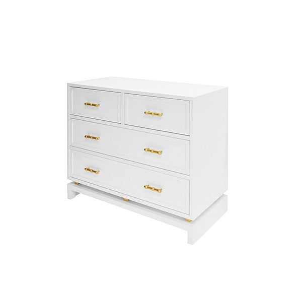 worlds away declan chest white 5 drawers bedroom side view