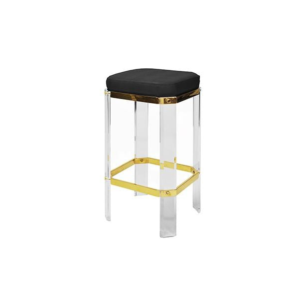 worlds away dorsey counter stool brass black bar acrylic side view