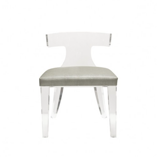 Worlds Away Duke Chair Grey Seating Upholstered Shagreen