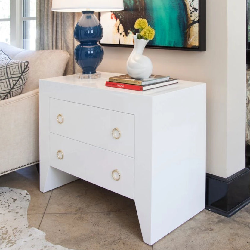 Worlds Away Easton White Side Table Brass