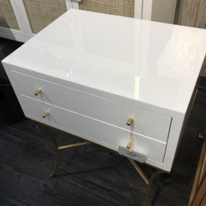 elena side table worlds away white lacquer two drawers market
